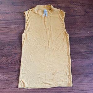 Gold stretchy mock neck tank